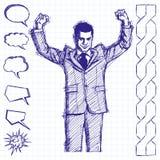 Hombre de negocios With Hands Up del bosquejo Libre Illustration