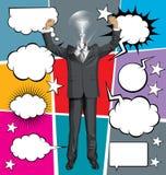 Hombre de negocios With Hands Upr del vector y discurso de la burbuja Libre Illustration