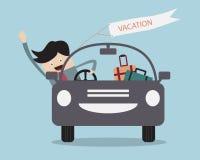 Hombre de negocios Happy In Car en sus vacaciones Imagen de archivo libre de regalías