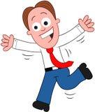 Hombre de negocios Happy de la historieta y funcionamiento. Imagenes de archivo