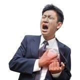Hombre de negocios Heart Attack en aislado Imagen de archivo
