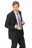 Hombre de negocios hermoso en traje negro Imágenes de archivo libres de regalías