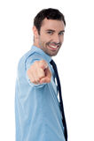 Hombre de negocios hermoso que señala en usted fotografía de archivo libre de regalías