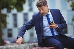 Hombre de negocios hermoso que sostiene el teléfono móvil mientras que usa la tableta digital Fotos de archivo libres de regalías