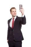 Hombre de negocios hermoso que toma un selfie Fotografía de archivo