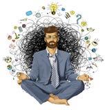 Hombre de negocios Hipster en la ORIGINAL de Lotus Pose Meditating libre illustration
