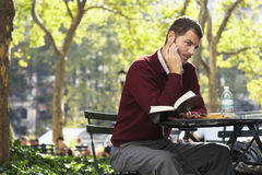 Hombre de negocios Holding Book And Pen In Park Foto de archivo