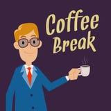 Hombre de negocios Holding Cup para el descanso para tomar café libre illustration