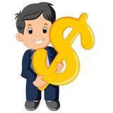 Hombre de negocios Holding Dollar Sign ilustración del vector