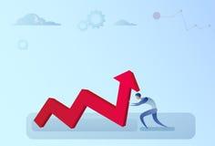Hombre de negocios Holding Financial Arrow encima del crecimiento acertado del desarrollo de negocios Fotografía de archivo