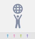 Hombre de negocios Holding Globe - iconos del granito stock de ilustración