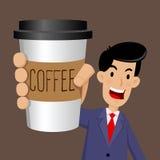 Hombre de negocios Holding a la taza de café a ir libre illustration