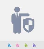 Hombre de negocios Holding Shield - iconos del granito libre illustration