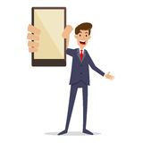 Hombre de negocios Holding Smartphone stock de ilustración