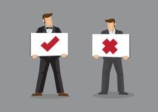 Hombre de negocios Holding Tick y muestras cruzadas stock de ilustración