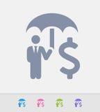 Hombre de negocios Holding Umbrella - iconos del granito ilustración del vector
