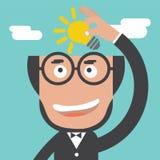 Hombre de negocios Holding un concepto de la idea de la bombilla stock de ilustración