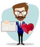 Hombre de negocios Holding un corazón y un sobre, stock de ilustración