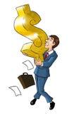 Hombre de negocios Holding un símbolo del dólar ilustración del vector