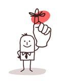 Hombre de negocios Holding Up Finger con la cinta del recordatorio ilustración del vector