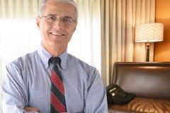 Hombre de negocios Hotel Room Fotografía de archivo libre de regalías
