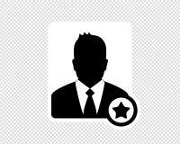Hombre de negocios, icono preferido del usuario, icono de Avatar - ejemplo del vector aislado en fondo transparente stock de ilustración