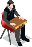 Hombre de negocios isométrico Sale Lead Bank Imagenes de archivo