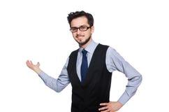 Hombre de negocios joven aislado en blanco fotos de archivo