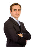 Hombre de negocios joven. Aislado en blanco. Imágenes de archivo libres de regalías