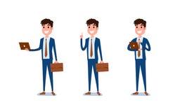 Hombre de negocios joven Character Design El sistema del individuo que actúa en traje sostiene el ordenador portátil, diversas em stock de ilustración