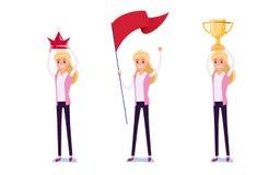 Hombre de negocios joven Character Design El sistema de la mujer de negocios que actúa en traje sostiene la corona, bandera, trof stock de ilustración