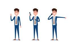 Hombre de negocios joven Character Design Sistema del individuo que actúa en traje usando smartphone, hablando vía el teléfono y  ilustración del vector