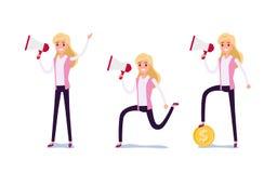 Hombre de negocios joven Character Design Sistema de la mujer de negocios que actúa en el traje que trabaja en oficina, diversas  libre illustration