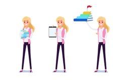 Hombre de negocios joven Character Design Sistema de la mujer de negocios que actúa en el traje que trabaja en oficina Diversos e libre illustration