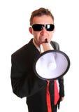 Hombre de negocios joven con el altavoz Imagenes de archivo