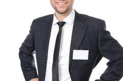 Hombre de negocios joven con el carné de identidad Imagen de archivo