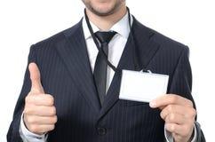 Hombre de negocios joven con el carné de identidad Fotografía de archivo