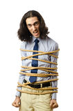 Hombre de negocios joven con la cuerda Fotos de archivo libres de regalías