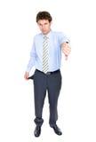 Hombre de negocios joven con los bolsillos vacíos, concepto Fotografía de archivo