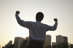 Hombre de negocios joven con los puños en el aire que celebra, vista posterior Imágenes de archivo libres de regalías