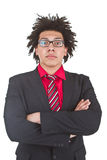 Hombre de negocios joven confidente con los vidrios Fotos de archivo