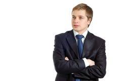 Hombre de negocios joven confidente por completo de pensamientos foto de archivo libre de regalías
