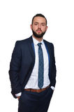 Hombre de negocios joven en el fondo blanco Fotos de archivo libres de regalías