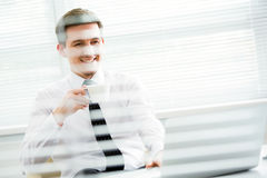 Hombre de negocios joven hermoso que trabaja en el ordenador portátil en oficina Foto de archivo