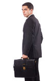 Hombre de negocios joven Holding Suitcase Foto de archivo