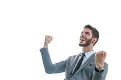 Hombre de negocios joven muy feliz Foto de archivo libre de regalías