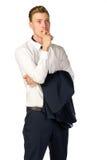 Hombre de negocios joven pensativo aislado en blanco Imágenes de archivo libres de regalías