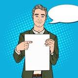 Hombre de negocios joven Pointing en la hoja en blanco Presentación del asunto Ejemplo retro del arte pop libre illustration