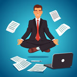 Hombre de negocios joven que eleva y mantiene flotando en la posición de la yoga ilustración del vector