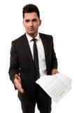 Hombre de negocios joven que espera para sacudir su mano Fotografía de archivo libre de regalías